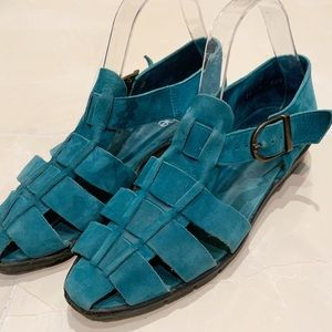 ARCHE Teal Nubuck Leather Fisherman's Sandal 9